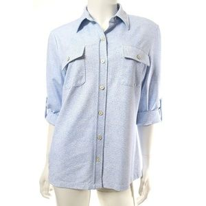 J. McLaughlin Blue White Monroe Catalina Shirt